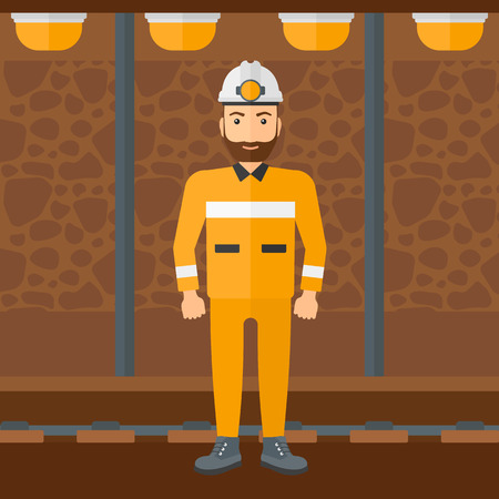 A hipster man with the beard in hardhat with torch on the background of mining tunnel with lights and rails vector flat design illustration. Square layout.