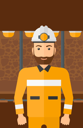 A hipster man with the beard in hardhat with torch on the background of mining tunnel with lights and rails vector flat design illustration. Vertical layout.