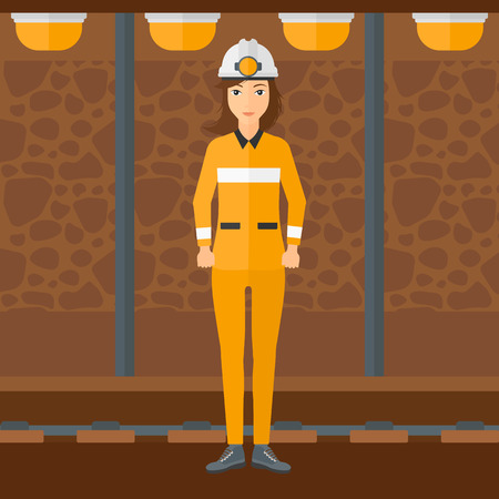 mine lamp: A woman in hardhat with torch on the background of mining tunnel with lights and rails vector flat design illustration. Square layout. Illustration