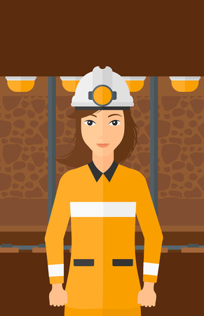 mine lamp: A woman in hardhat with torch on the background of mining tunnel with lights and rails vector flat design illustration. Vertical layout.