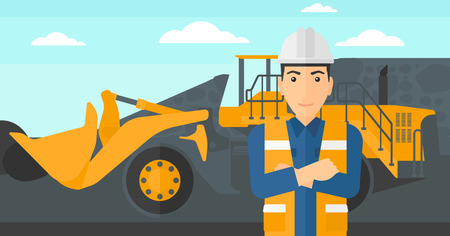 coal mine: A miner standing in front of a big mining equipment on the background of coal mine vector flat design illustration. Horizontal layout.