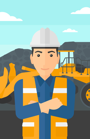 mining equipment: A miner standing in front of a big mining equipment on the background of coal mine vector flat design illustration. Vertical layout.
