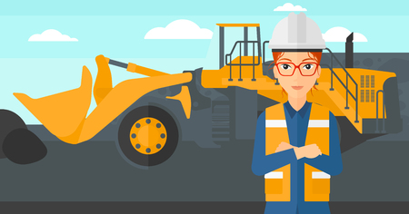 mining equipment: A woman standing in front of a big mining equipment on the background of coal mine vector flat design illustration. Horizontal layout.