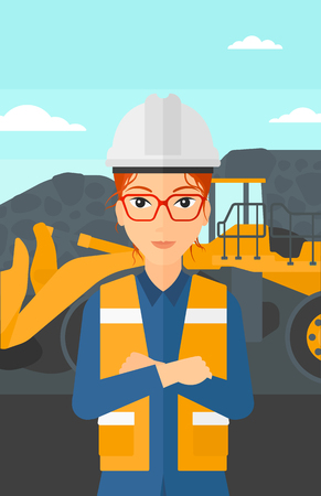 coal miner: A woman standing in front of a big mining equipment on the background of coal mine vector flat design illustration. Vertical layout. Illustration