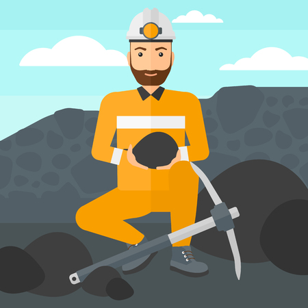 pickaxe: A hipster man sitting with coal in hands and a pickaxe on the background of coal mine vector flat design illustration. Square layout.