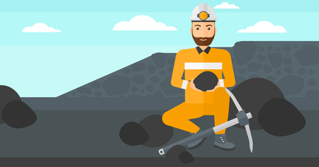 A hipster man sitting with coal in hands and a pickaxe on the background of coal mine vector flat design illustration. Horizontal layout.