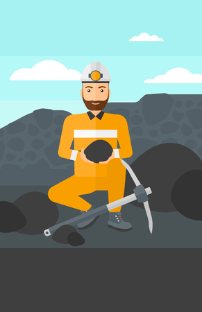 A hipster man sitting with coal in hands and a pickaxe on the background of coal mine vector flat design illustration. Vertical layout.