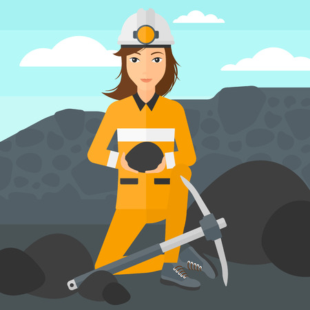 mattock: A woman sitting with coal in hands and a pickaxe on the background of coal mine vector flat design illustration. Square layout. Illustration