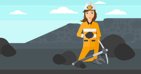 A woman sitting with coal in hands and a pickaxe on the background of coal mine vector flat design illustration. Horizontal layout.