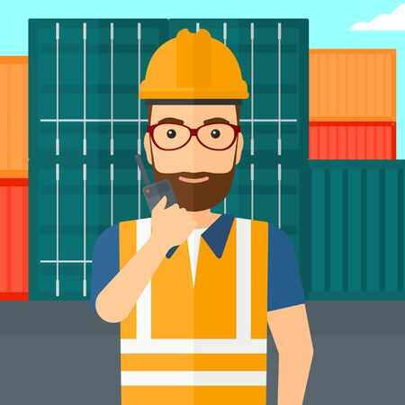 portable radio: A man talking to a portable radio on cargo containers background vector flat design illustration. Square layout.