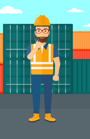 A man talking to a portable radio on cargo containers background vector flat design illustration. Vertical layout.
