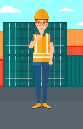 dock: A woman talking to a portable radio on cargo containers background vector flat design illustration. Vertical layout.