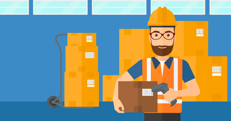 A man checking barcode of a box with a scanner on the background of cardboard boxes in warehouse vector flat design illustration. Horizontal layout.