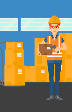 business woman: A woman checking barcode of a box with a scanner on the background of cardboard boxes in warehouse vector flat design illustration. Vertical layout.