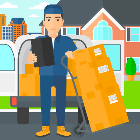 shipper: A delivery man standing near cart with boxes and holding a file in a hand on the background of delivery truck and a house vector flat design illustration. Square layout. Illustration