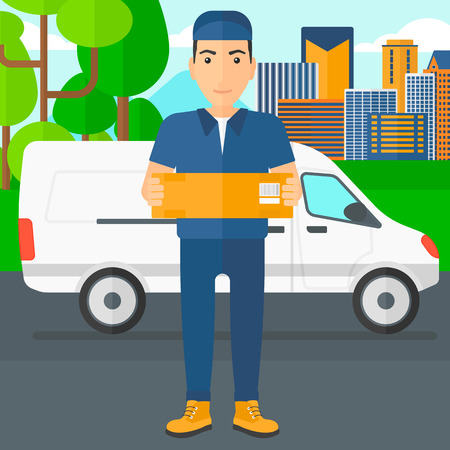 shipper: A delivery man carrying box on the background of the city and delivery truck vector flat design illustration. Square layout.