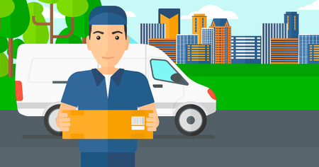 A delivery man carrying box on the background of the city and delivery truck vector flat design illustration. Horizontal layout.