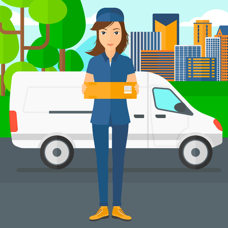 carrying box: A delivery woman carrying box on the background of the city and delivery truck vector flat design illustration. Square layout. Illustration