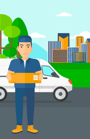 carrying box: A delivery man carrying box on the background of the city and delivery truck vector flat design illustration. Vertical layout.