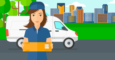 shipper: A delivery woman carrying box on the background of the city and delivery truck vector flat design illustration. Horizontal layout. Illustration
