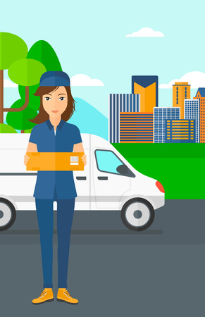 carrying box: A delivery woman carrying box on the background of the city and delivery truck vector flat design illustration. Vertical layout.