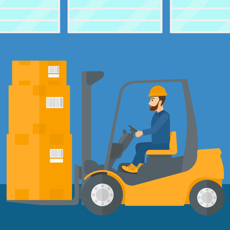 A man moving load by forklift truck on the background of warehouse vector flat design illustration. Square layout.
