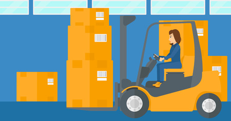 A woman moving load by forklift truck on the background of warehouse vector flat design illustration. Horizontal layout.