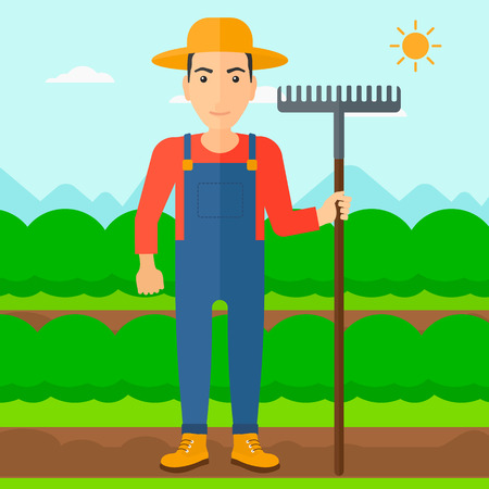 agrarian: A man standing with a rake on the background of field rows with green bushes vector flat design illustration. Square layout.