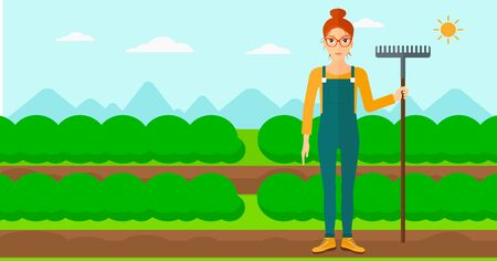 agrarian: A woman standing with a rake on the background of field rows with green bushes vector flat design illustration. Horizontal layout.