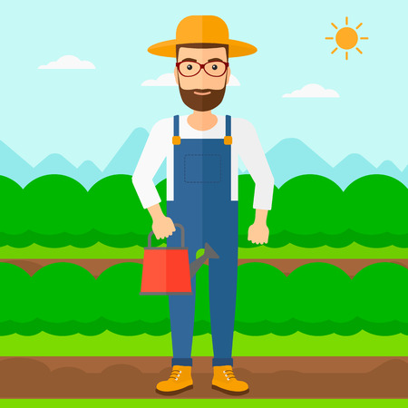A hipster man with the beard holding a watering can on the background of field rows with green bushes vector flat design illustration. Square layout.
