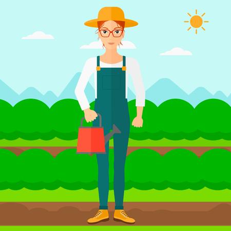緑の茂みベクトル フラット設計図を持つフィールド行の背景に水まき缶を保持している女性。正方形のレイアウト。
