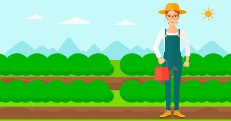 緑の茂みベクトル フラット設計図を持つフィールド行の背景に水まき缶を保持している女性。水平方向のレイアウト。