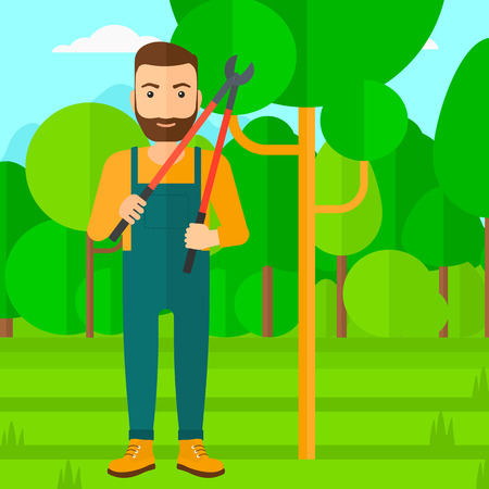 prune: A hipster man with the beard holding a pruner on a background of garden with trees vector flat design illustration. Square layout.