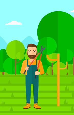 pruner: A hipster man with the beard holding a pruner on a background of garden with trees vector flat design illustration. Vertical layout. Illustration