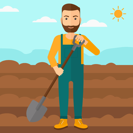 plowed: A hipster man with shovel on a background of plowed agricultural field vector flat design illustration. Square layout.
