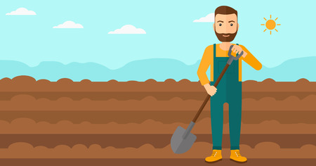 A hipster man with shovel on a background of plowed agricultural field vector flat design illustration. Horizontal layout.