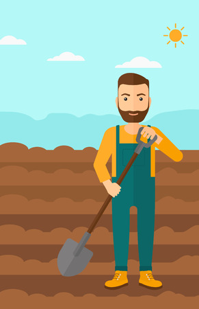 A hipster man with shovel on a background of plowed agricultural field vector flat design illustration. Vertical layout. Illustration