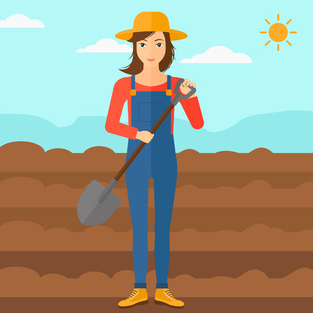 plowed: A woman with shovel on a background of plowed agricultural field vector flat design illustration. Square layout. Illustration