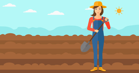 plowed: A woman with shovel on a background of plowed agricultural field vector flat design illustration. Horizontal layout.