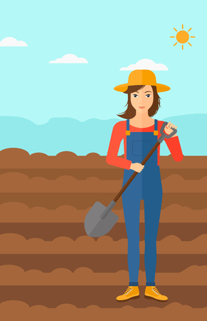 plowed: A woman with shovel on a background of plowed agricultural field vector flat design illustration. Vertical layout.