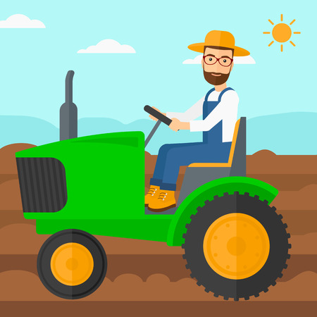 A hipster man with the beard driving a tractor on a background of plowed agricultural field vector flat design illustration. Square layout.