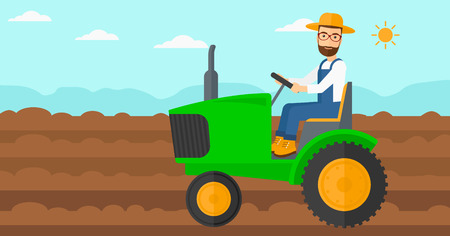 plowed: A hipster man with the beard driving a tractor on a background of plowed agricultural field vector flat design illustration. Horizontal layout.