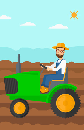 fieldwork: A hipster man with the beard driving a tractor on a background of plowed agricultural field vector flat design illustration. Vertical layout. Illustration