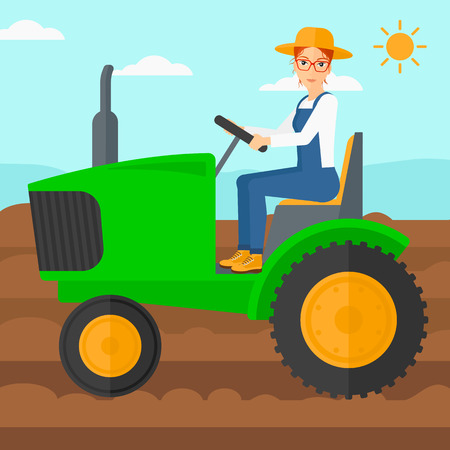 plowed: A woman driving a tractor on a background of plowed agricultural field vector flat design illustration. Square layout. Illustration