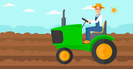 A woman driving a tractor on a background of plowed agricultural field vector flat design illustration. Horizontal layout.