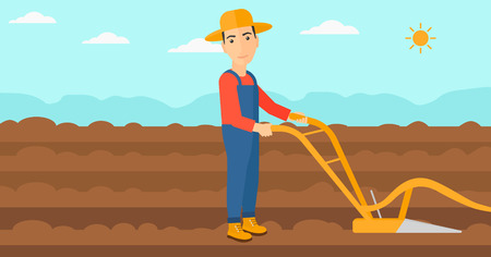 furrow: A man using a plough on the background of plowed agricultural field vector flat design illustration. Horizontal layout.