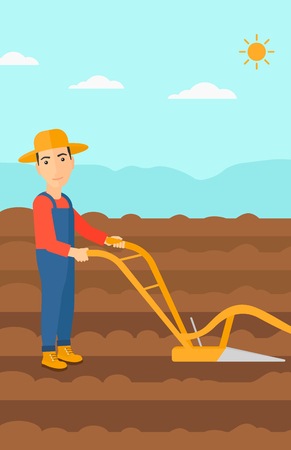 furrow: A man using a plough on the background of plowed agricultural field vector flat design illustration. Vertical layout.