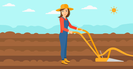 furrow: A woman using a plough on the background of plowed agricultural field vector flat design illustration. Horizontal layout. Illustration