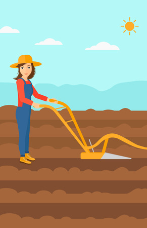 A woman using a plough on the background of plowed agricultural field vector flat design illustration. Vertical layout.