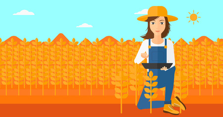 checking: A woman checking plants on a field and working on a digital tablet vector flat design illustration. Horizontal layout.